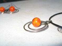 Niobium necklace orange Effetre glass beads No 559 by ToesOver
