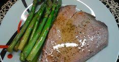 Asparagus, Steak, Health Fitness, Vegetables, Grilled Tuna Steaks, Lemon Sauce, Steak Recipes, Healthy Recipes, Light Recipes