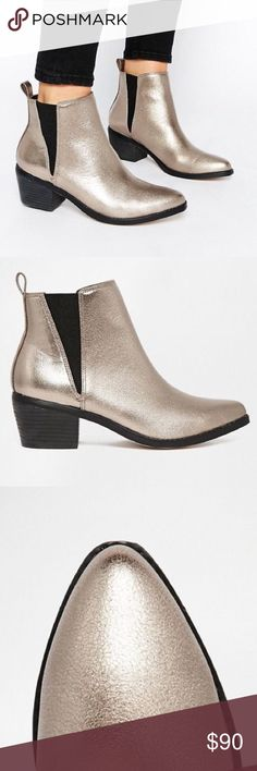 metallic Chelsea boot ✨only worn a few times! Ready for a new home. ASOS Shoes Ankle Boots & Booties