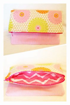 Fold over clutch with pink chevron lining, striped canvas bottom and floral polka dot top