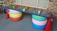 """A recycled art table from Tamika Brennan at Chancellor Park World of Learning - image shared by Modern Teaching Aids ("""",)"""