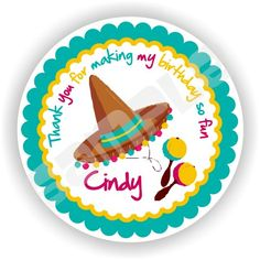 40 Thank You 2 inch circle Stickers - Birthday - Baby Shower - Envelope Seal - Address Label - Mexican Party Theme - Personalized on Etsy, $12.00