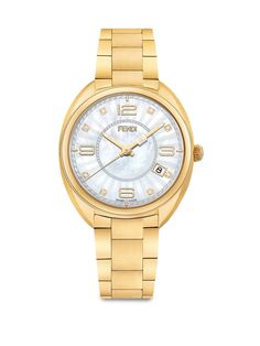 Fendi Momento Fendi Diamond, Mother-Of-Pearl & Goldtone Stainless Steel Bracelet Watch