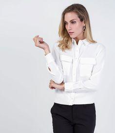 Camisa Feminina Manga Longa  com Bolsos