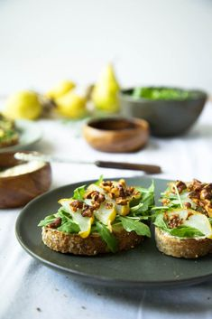 roasted pear and ginger cashew 'ricotta' toast with roasted rosemary walnuts