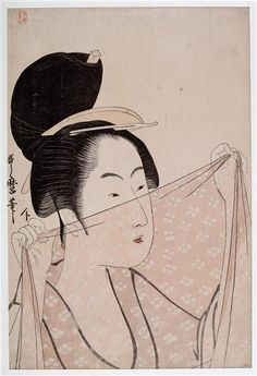 Woman holding up a piece of silk gauze fabric. Ukiyo-e woodblock print, about Japan, by artist Kitagawa Utamaro Japanese Prints, Japan Painting, Art Asiatique, Art Japonais, Sketch Painting, Art Institute Of Chicago, Japan Art, Woodblock Print, Printmaking