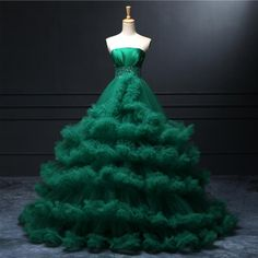 Green Strapless Pleated Beading Satin Top Ruffle Puffy