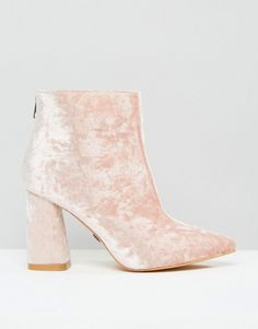 Pink   Daisy Street Pink Crushed Velvet Point Heeled Ankle Boots at ASOS