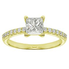 Princess Cut Engagement Rings with yellow stones | ... Princess Cut Diamond Engagement Ring with Side Stones in Yellow Gold