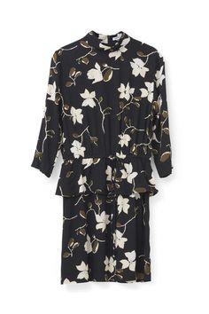 Rosemont Crepe Dress, Black Wild Rose