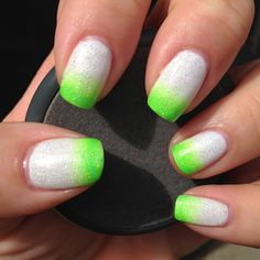 Neon green and white gradient nail design