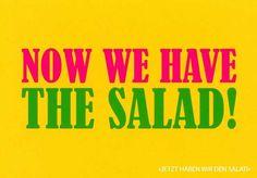"""Postkarte mit lustigen Sprüchen – Now we have the salad! - """"Jetzt haben wir den Salat!"""" Postkarten Lustige Sprüche"""