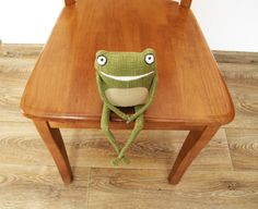 Linen Funny Frog / Linen stuffed toy / Children's by ZosiasStore