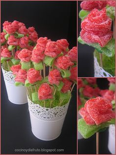 Discover recipes, home ideas, style inspiration and other ideas to try. Bouquet Cadeau, Candy Bouquet, Snacks Für Party, Party Favors, Bar A Bonbon, Edible Bouquets, Ideas Para Fiestas, Candy Table, Cute Food