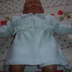 Manteau de baptême blanc tricoté main