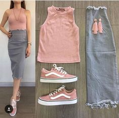 Kombin Sneakers Combined Gray Midi Jeans Skirt Pink Sleeveless Blouse Pink Sneakers you can find sim. Skirt Outfits, Chic Outfits, Trendy Outfits, Fashion Outfits, Look Fashion, Korean Fashion, Girl Fashion, Womens Fashion, Jupe Midi Jean