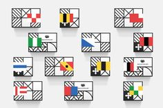 """Brand Identity for Helvetimart by Anagrama """"Our branding proposal is heavily inspired by regional flags belonging to each of Switzerland's 26 sovereign states. We created a nomenclature system based on the states' coat of arms, allowing us to..."""