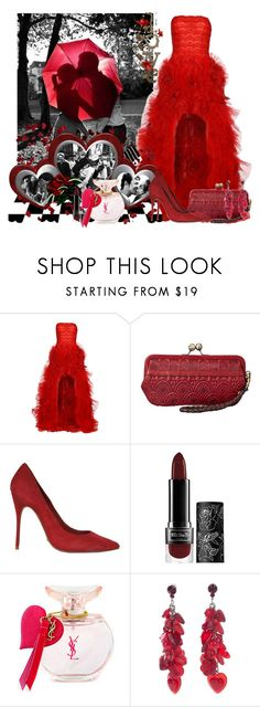 """""""les hommes riches, les belles femmes"""" by frane-x ❤ liked on Polyvore featuring Zuhair Murad, FOSSIL, Schutz, Kat Von D, Yves Saint Laurent and Tarina Tarantino"""