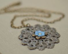Antiqued Brass Filigree Necklace with Flower Handmade Necklace Statement Necklace Flower Necklace Flower Pendant