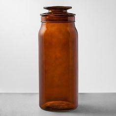 Bath Canister Large Amber - Hearth & Hand™ With Magnolia : Target Amber Glass Jars, Amber Bottles, Classic Bathroom, Modern Bathroom, Small Bathroom, Master Bathroom, Storage Canisters, Bath Storage, Chip And Joanna Gaines