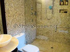 using pebble tile for shower walls | Quartz Mosaic Pebble Tile Shower & Bathroom Walls Picture