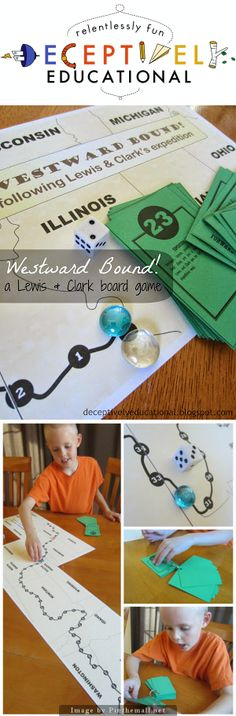 Relentlessly Fun, Deceptively Educational: Westward Bound! {A Lewis & Clark Board Game} Students learn about the Lewis and Clark Expedition, the Louisiana Purchase and the group of adventurers (the Corps of Discovery) that explored the lands acquired in the Louisiana Purchase and the Oregon Territory.