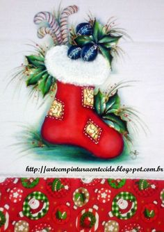 pintura em tecido natal , fabric painting christmas