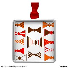 Bow Ties Retro Square Metal Christmas Ornament