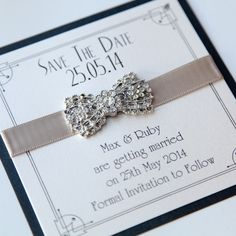 Art Deco Bow Save the Date - Vintage Wedding Stationery Scotland - VOWS Award Nominee 2013