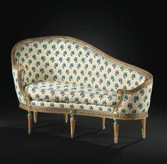 Veilleuseà la turque en hêtre sculpté laqué bleu rechampi or d'époque Louis XVI, vers 1777-1779, estampillée G.IACOB - Sotheby's