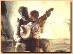 "Henry Ossawa Tanner, ""The Banjo Lesson"".      Links to PBS.org introduction to his work.    ""One of the first African-American artists to achieve a reputation in both America and Europe, Henry Ossawa Tanner worked in the Naturalist and genre traditions of American art. Though his work grew increasingly mainstream and allegorical, his early depictions of humble black folk about their daily lives are regarded as classic statements of African-American pride and dignity."""