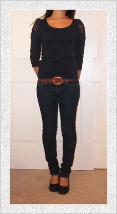 Navy Blue Shirt And Jeans.