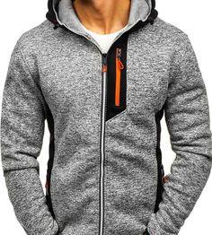 Bluză pentru bărbat cu glugă și fermoar gri Bolf TC828