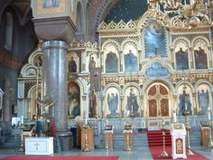 Uspenski Russian Orthodox Cathedral, Helsinki. View of the Iconostas.