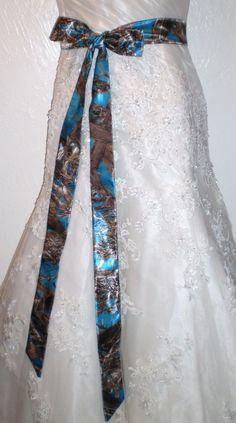 Blue Jewel Camo Bridal Wedding Satin Belt or Sash or Corset Tie String