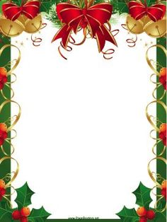this free printable christmas border features festive red ribbons golden bells and winter holly christmas templates for wordchristmas