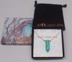 "Alex and Ani  16""-32"" 14KT GOLD Plated .925 Chain w/ TURQUOISE pendant #ALEXANDANI"