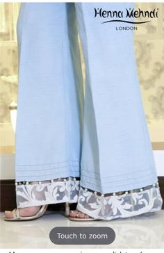 Designer Indian & Pakistani Ice Blue Embroidered & Embellished Trousers available in Salwar Trousers Salwar Designs, Blouse Designs, Salwar Pants, Salwar Kameez, Fashion Pants, Fashion Outfits, Designs For Dresses, Pants For Women, Clothes For Women