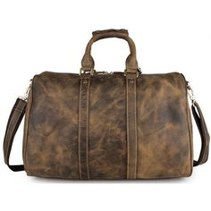 Gritty rustic leather - men's crazy horse leather full grain walnut... ($249) ❤ liked on Polyvore featuring men's fashion, men's bags, mens leather duffle travel bag, men's duffel bags, mens hand bag, mens bags and mens travel bag