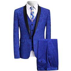 YFFUSHI Men's Modern Elegant Jacquard 3-Piece Suit Slim-F...