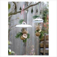 Decorative bird feeders hanging from tree