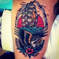 Eagle and Ship Tattoo - CHRISTIAN OTTO | EXPERT TATTOOER at BURNOUT INK. Palma de Mallorca's Finest Tattoo Parlour (Spain)