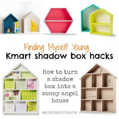 Finding Myself Young: KMART HACK - How to transform shadow boxes into Sonny Angel houses Up House, Kids House, Kmart Hack, Kmart Decor, Ideas Habitaciones, House Shelves, Sonny Angel, Crafts For Kids, Diy Crafts