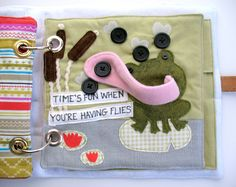 "Frog eating flies Felt book page (this inspires a ""5 little speckled frogs"" page)"