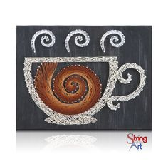 DIY String Art Kit - Swirling Coffee Cup String Art, Coffee String Art.  Visit www.StringoftheArt.com to learn more about creating this easy and fun coffee string art project!  Kit comes with a HAND sanded and HAND painted distressed black pine wood board, highest quality embroidery floss, metallic wire nails, easy to follow instructions, and pattern template.