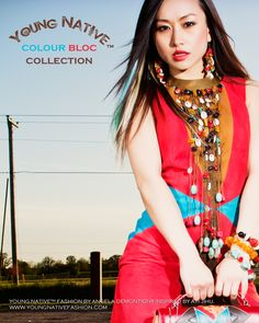 Striking 4 Elements goatsuede dress featuring handcrafted, cascade collar with semi-precious stones and shells and turquoise, coral and amber bracelets. Ayi Jihu is carrying the matching 4 Elements Clutch in acid wash cowhide from Italy (in Safari). Coral, Turquoise, Native Style, 40 Years Old, Love Is Free, Old Women, Free Spirit, Branding Design, Sari