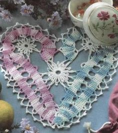 Candy cane heart doily