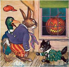 Animals Startled by a Jack-O-Lantern | Halloween Greeting Cards