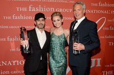 Marc Jacobs and Robert Duffy with Miley Cyrus, who presented them with the Superstar award at the 30th annual Fashion Group International's Night of Stars.