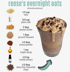 Healthy Recipes Are you a Reese's Peanut Butter Cup fan?⁠ ⁠ Since the snickers overnight oats - Health and Nutrition Easy Smoothie Recipes, Easy Smoothies, Oats Recipes, Good Healthy Recipes, Healthy Breakfast Recipes, Vegan Recipes, Cooking Recipes, Green Smoothies, Smoothies With Flax Seed